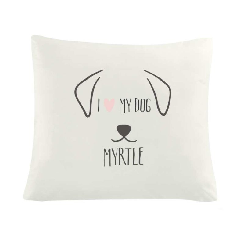 Personalised 'I Love My Dog' Cushion Cover