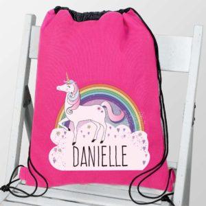Personalised Unicorn and Rainbow Hot Pink P.E Kit Bag