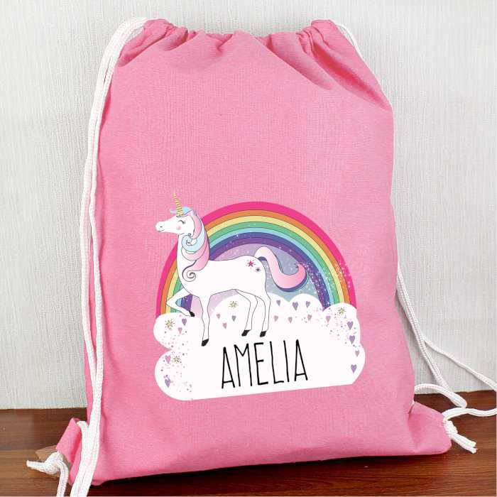 Personalised Unicorn and Rainbow Hot Pink P.E Kit Bag