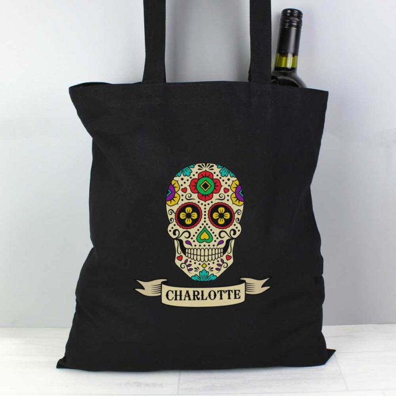 Personalised Day of the Dead Black Cotton Bag