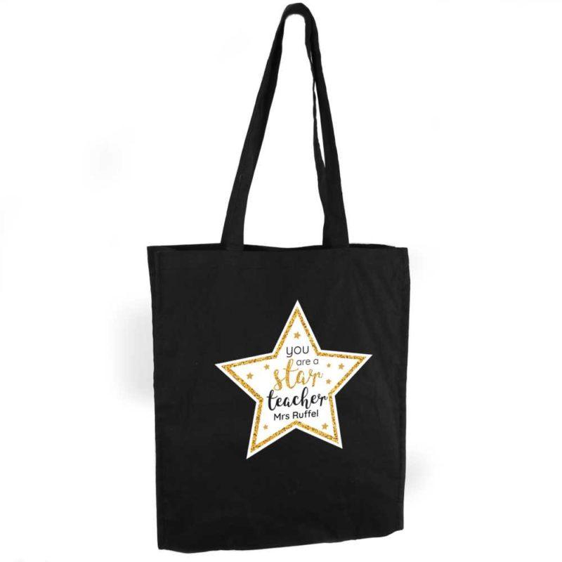 Personalised Star Teacher Black Cotton Tote Bag