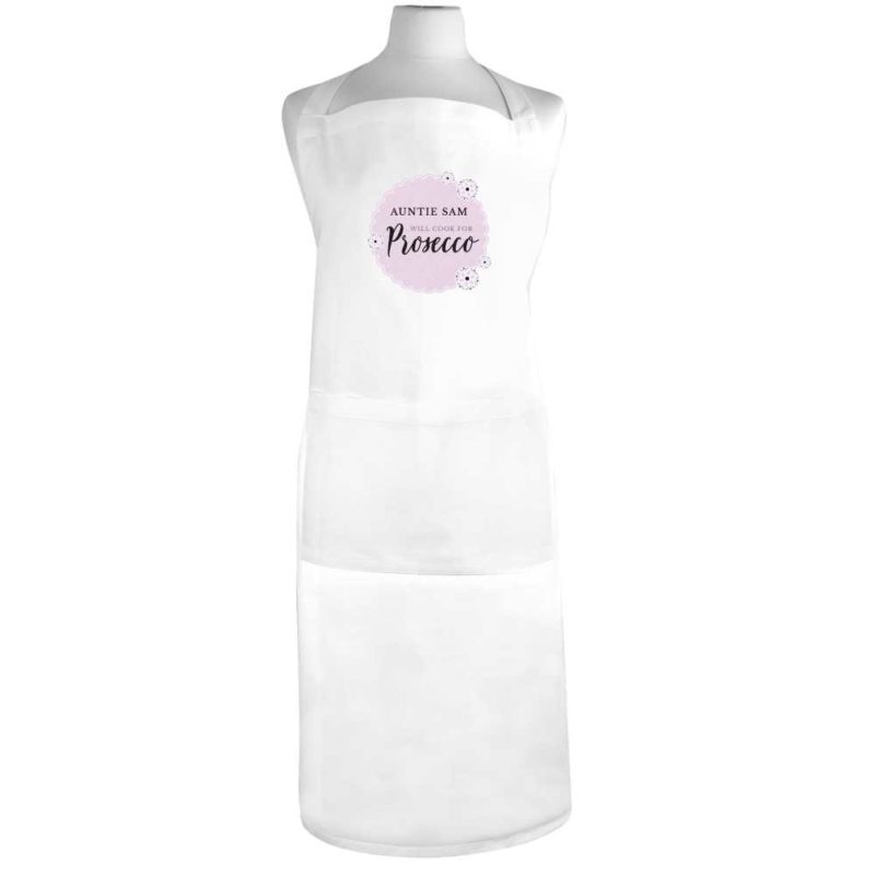 Personalised 'Will Cook for Prosecco' White Apron