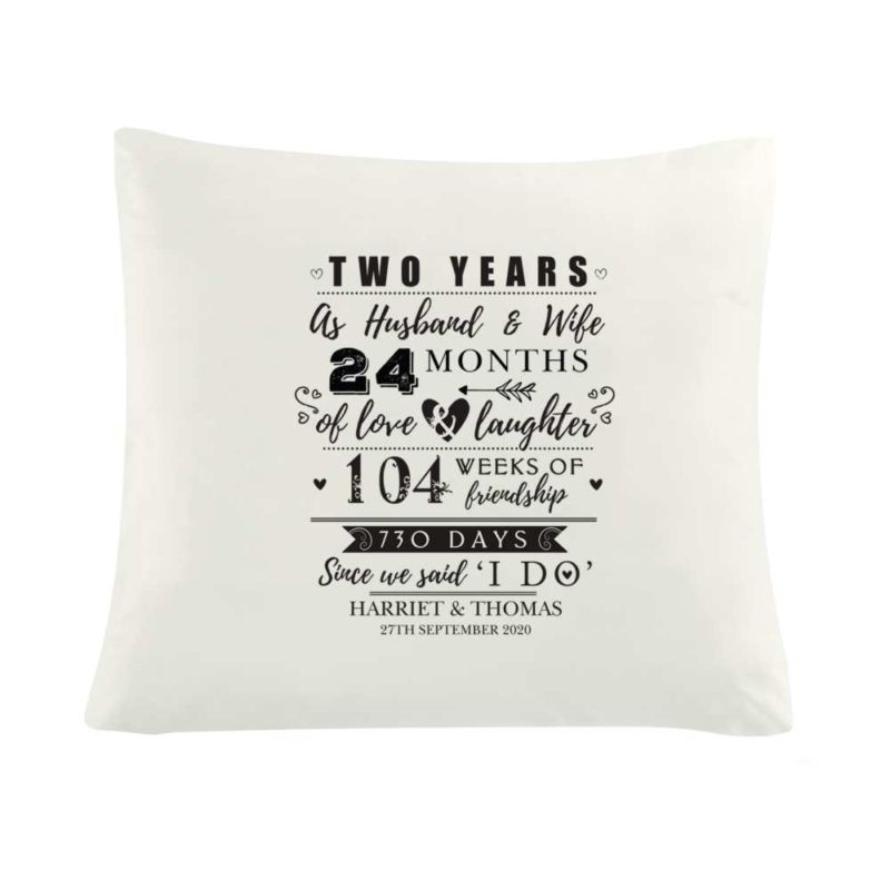 Personalised '2nd Anniversary' Cushion Cover