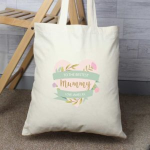 Personalised Floral Heart Mothers Day Cotton Bag