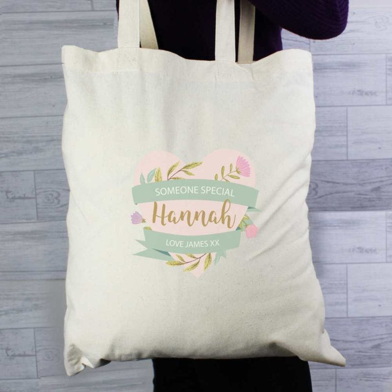 Personalised Floral Heart Cream Cotton Tote Bag