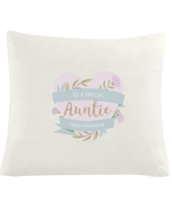 Personalised Floral Heart Mothers Day Cream Cushion Cover