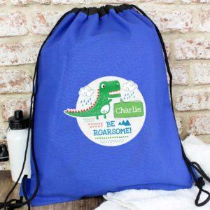 Personalised 'Be Roarsome' Dinosaur P.E Kit Bag