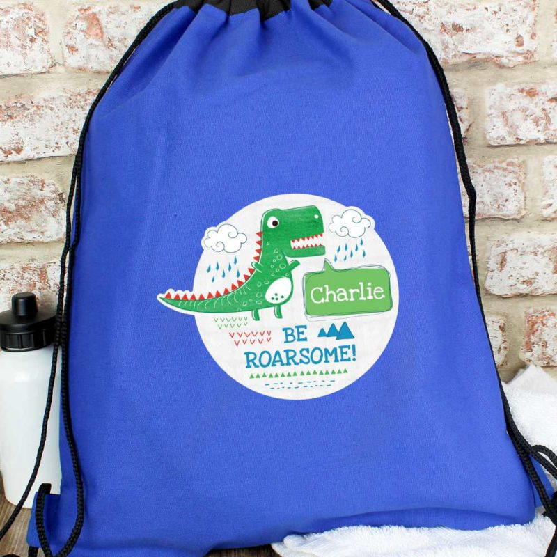 Personalised 'Be Roarsome' Dinosaur P.E Kit Bag