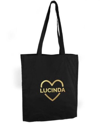 Personalised Gold Heart Black Cotton Tote Bag