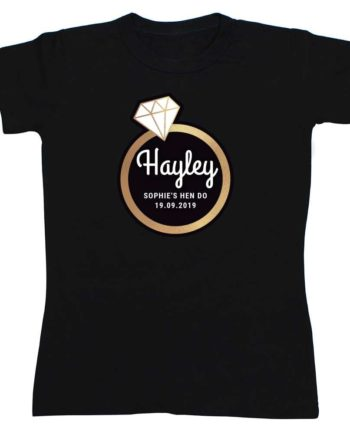 Personalised Gold Diamond Ring Hen Party Black T-Shirt