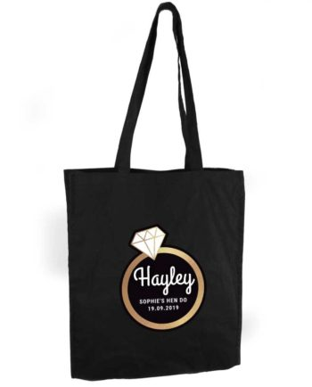 Personalised Gold Diamond Ring Hen Party Black Tote Bag