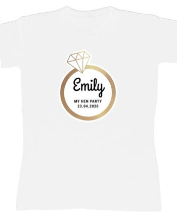 Personalised Gold Diamond Ring Hen Party White T-Shirt