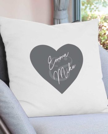 Personalised Couples Grey Heart Cushion Cover