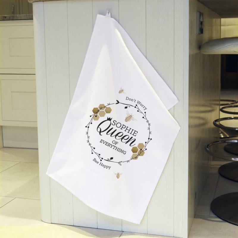 Personalised 'Queen Bee' White Tea Towel