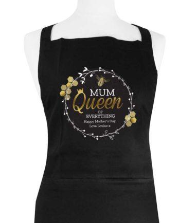 Personalised Queen Bee Black Apron