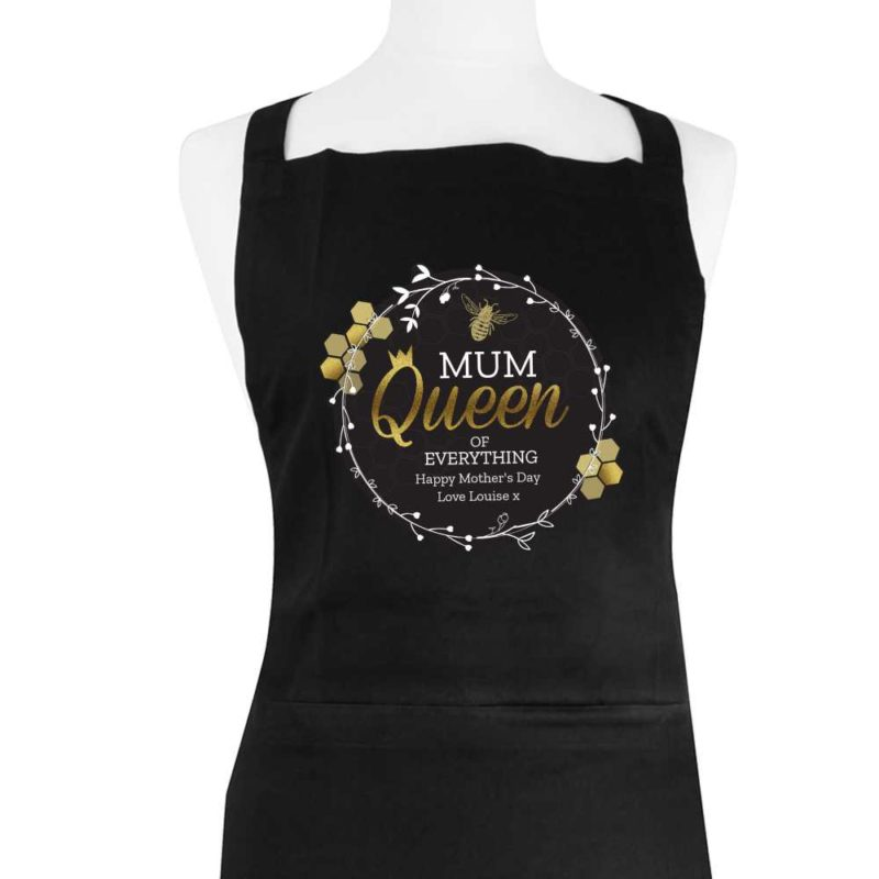 Personalised 'Queen Bee' Black Apron
