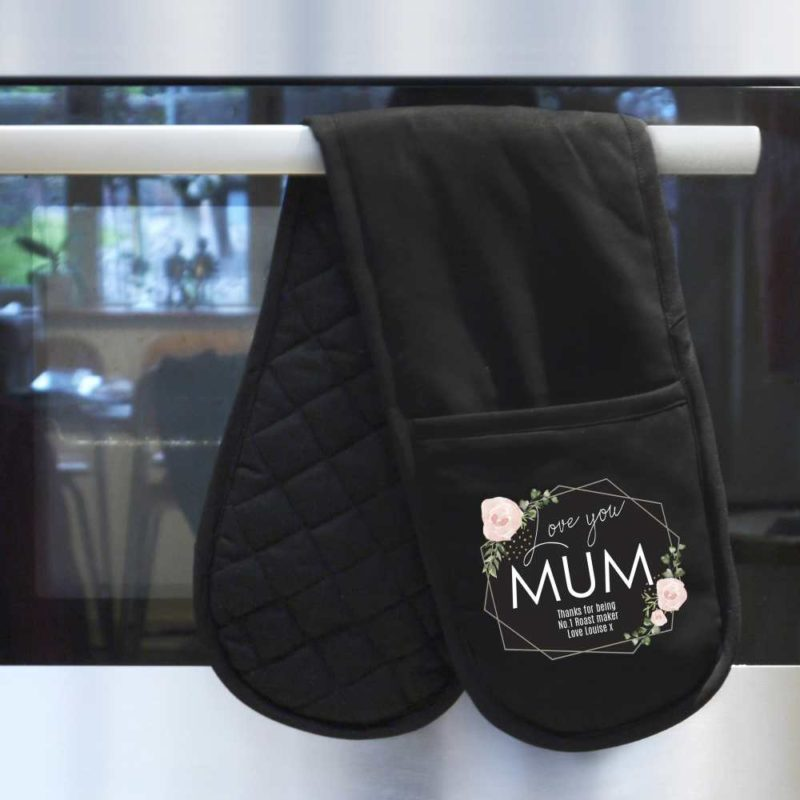 Personalised Pastel Rose 'Love You' Oven Gloves