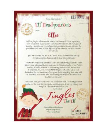 Personalised Elf 'On the Nice List' Surveillance Christmas Letter