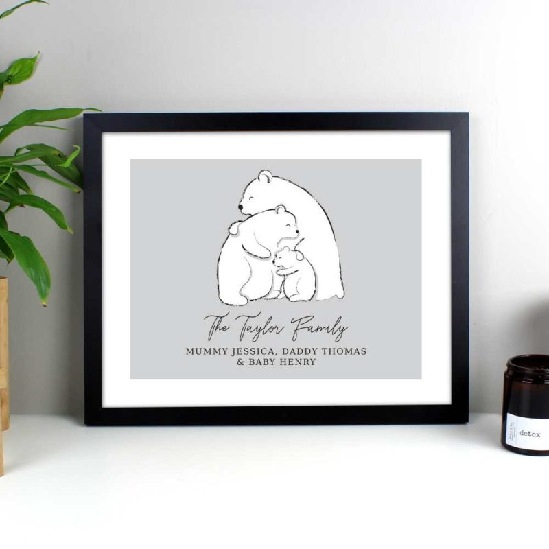 Personalised Polar Bear Family of 3 Black Framed Print
