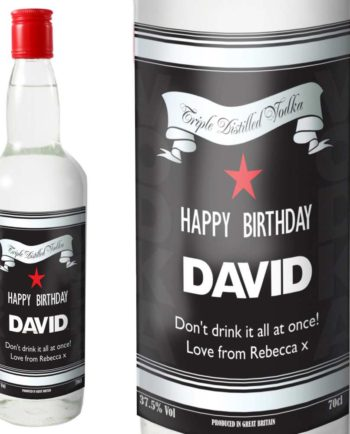 Personalised Black and Silver Label Vodka with Gift Box