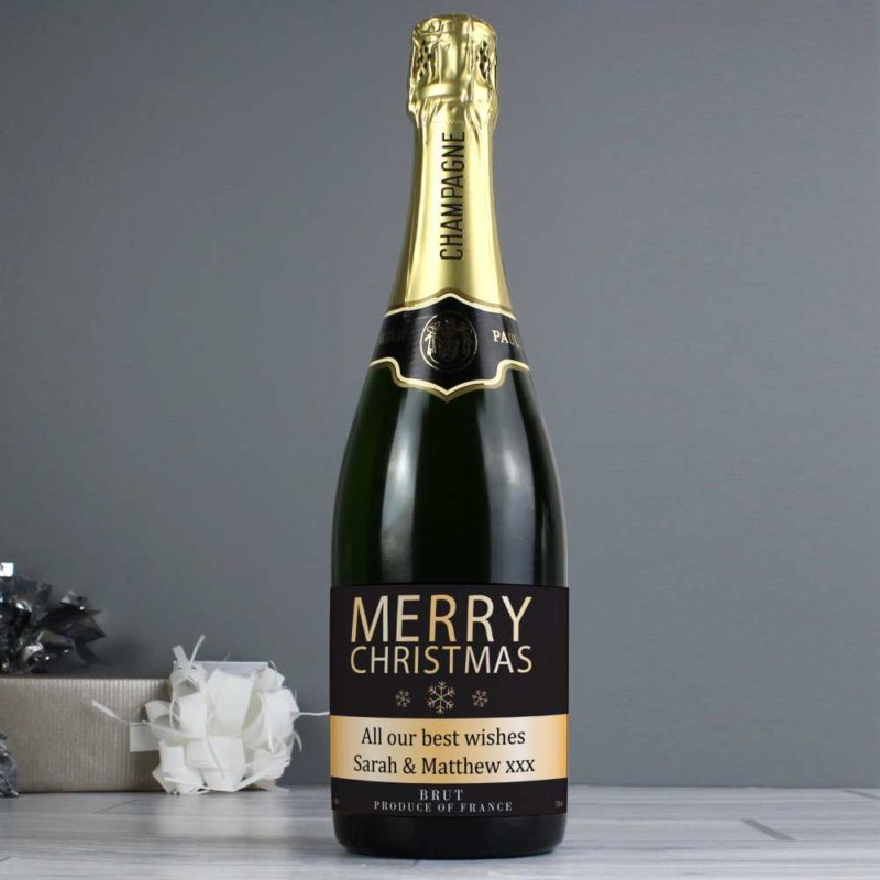 Personalised 'Merry Christmas' Champagne Bottle