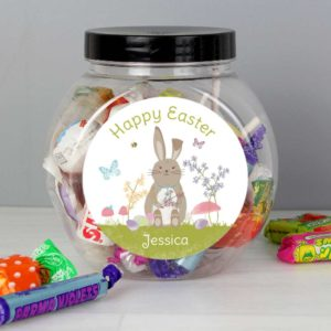 Personalised Easter Spring Meadow Bunny Sweets Jar