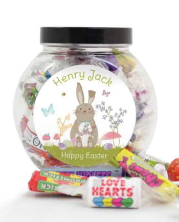 Personalised Easter Spring Meadow Bunny Sweets Jar