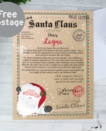 Personalised Santa Claus 'On the Nice list' Christmas Letter