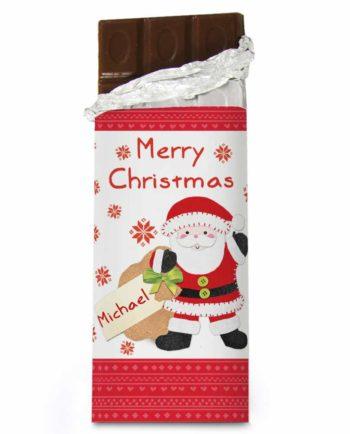 Personalised Felt Stitch Santa Milk Chocolate Bar