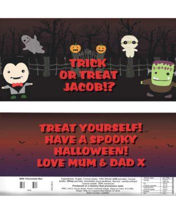 Personalised 'Spooky' Halloween Milk Chocolate Bar