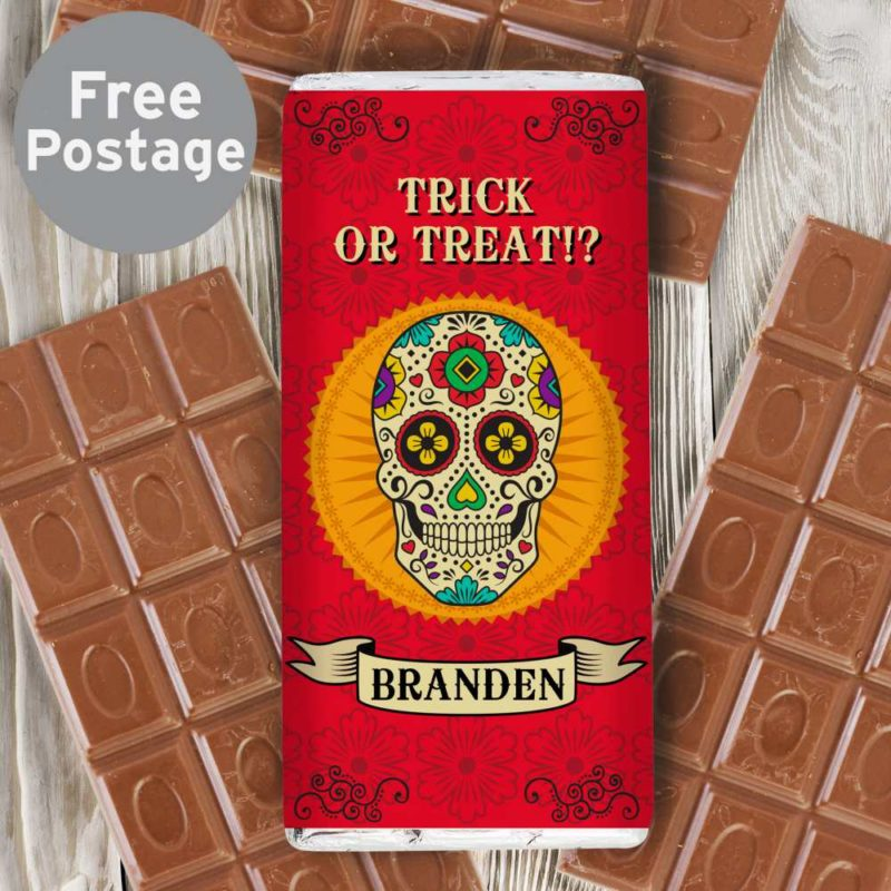 Personalised Day of The Dead Sugar Skull Milk Chocolate Bar
