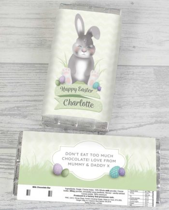 Personalised Grey Easter Bunny Milk Chocolate Bar