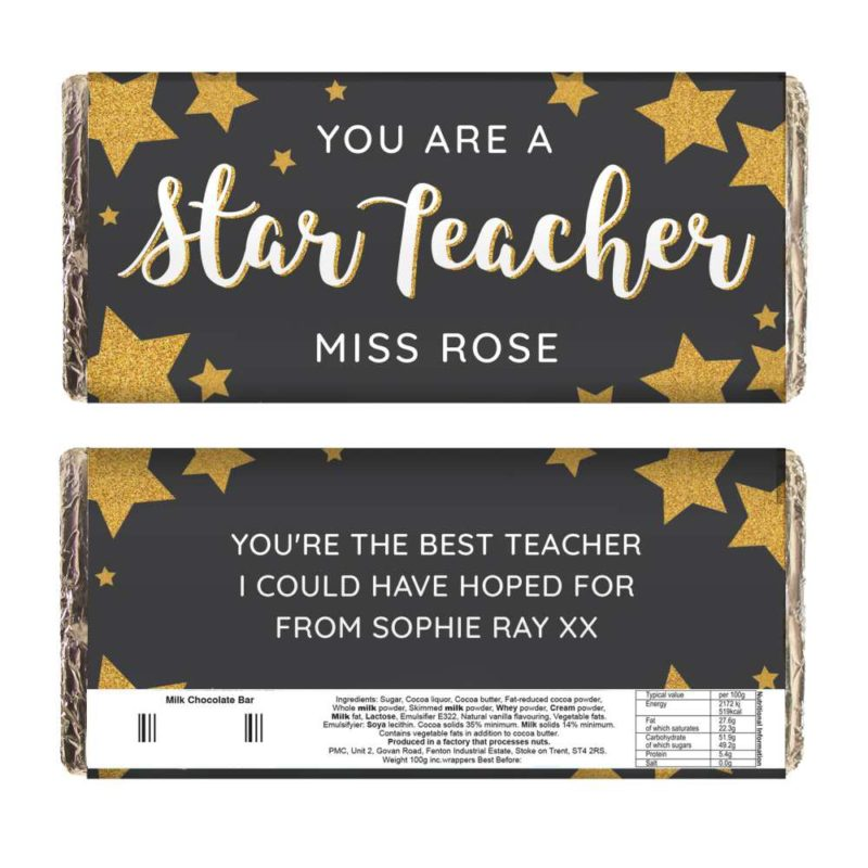 Personalised 'You Are A Star Teacher' Milk Chocolate Bar