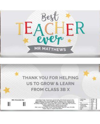 Personalised Best Teacher Ever Milk Chocolate Bar
