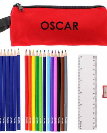 Personalised Red Pencil Case with Personalised Pencils & Crayons