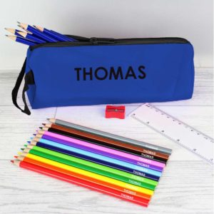 Personalised Blue Pencil Case with Personalised Pencils & Crayons