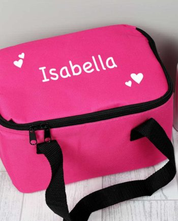 Personalised Hearts Hot Pink Lunch Bag