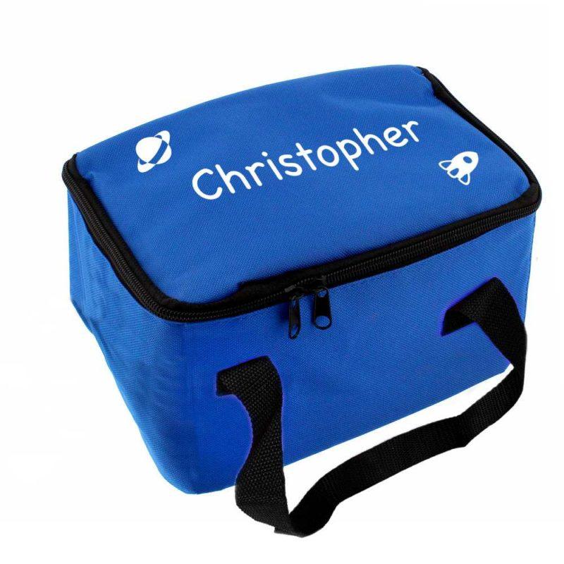 Personalised Spaceship Blue Lunch Bag