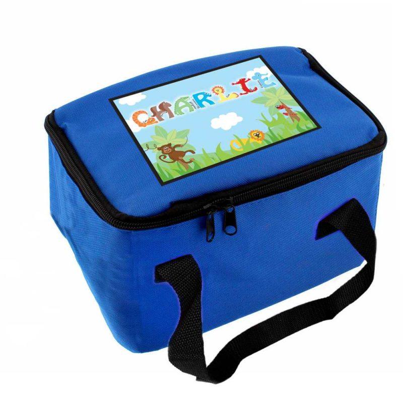 Personalised Jungle Animal Alphabet Lunch Bag