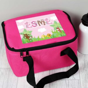 Personalised Jungle Animal Alphabet Pink Lunch Bag