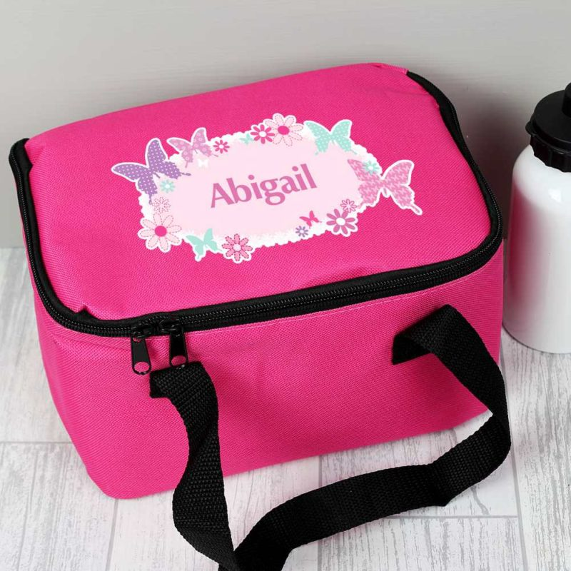 Personalised Hot Pink Butterfly Lunch Bag