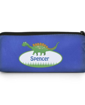 Personalised Cute Dinosaur Blue Pencil Case