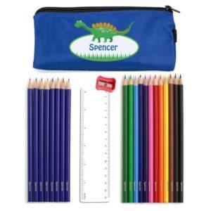 Cute Dinosaur Pencil Case with Personalised Pencils & Crayons