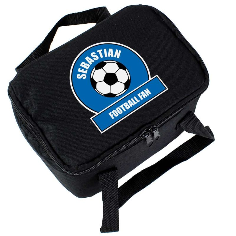 Personalised Royal Blue Football Fan Lunch Bag