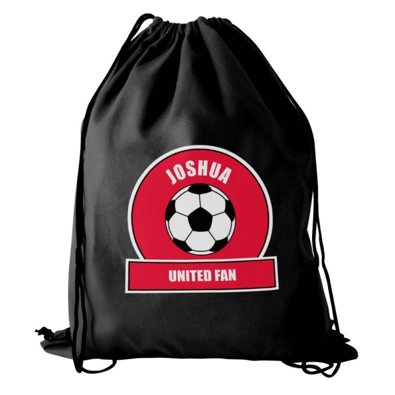 Personalised Red Football Fan P.E Kit Bag