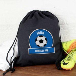 Personalised Royal Blue Football Fan P.E Kit Bag