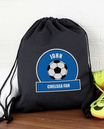 Personalised Royal Blue Football Fan P.E Kit Bag