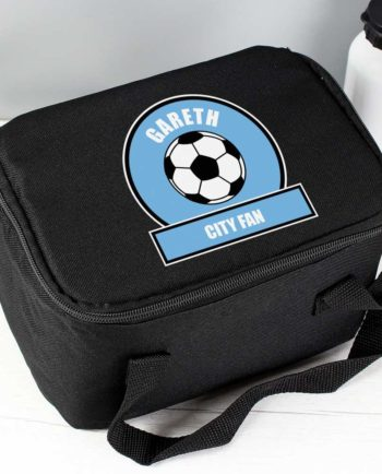 Personalised Sky Blue Football Fan Lunch Bag