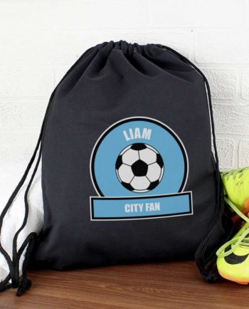 Personalised Sky Blue Football Fan P.E Kit Bag