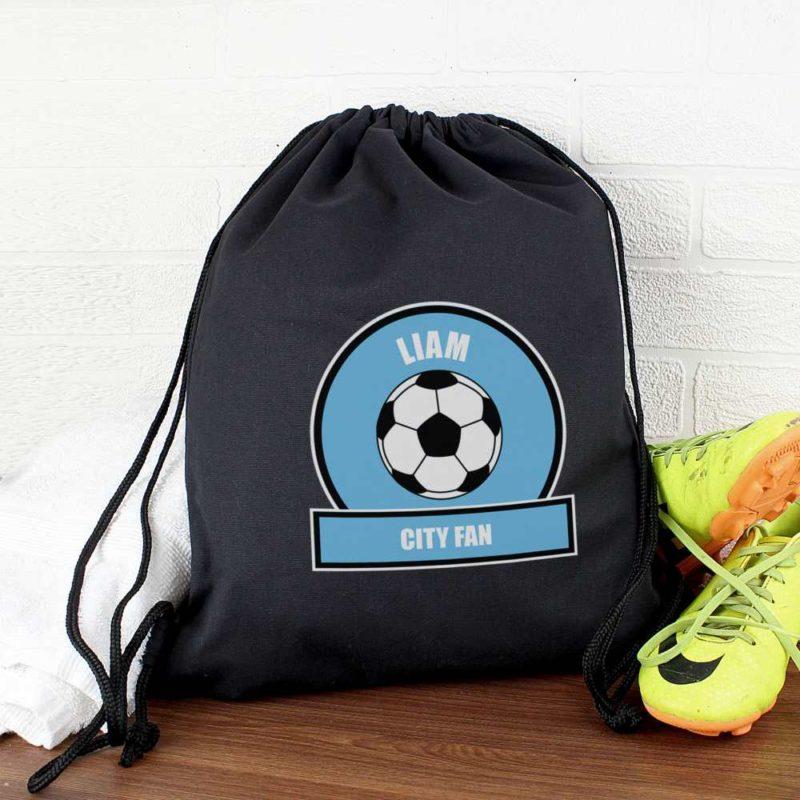 Personalised Sky Blue Football Fan P.E Kit Bag